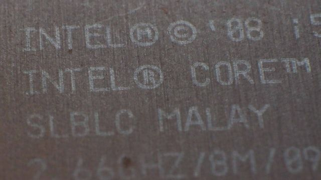 Words can be read on a processor, which says 'Intel Core'